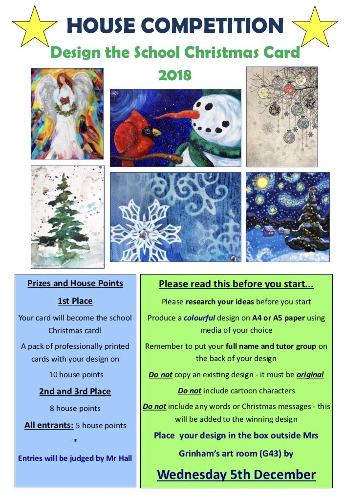 Aylesford School On Twitter It S That Time Of Year When We Ask Students To Enter The School Christmas Card Competition Please Read The Information Below Before You Start We Look Forward To