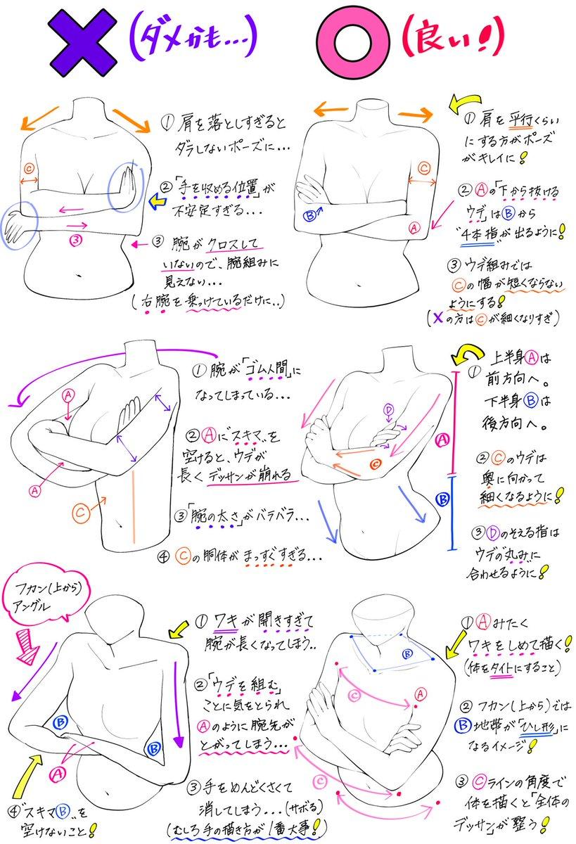 吉村拓也fanboxイラスト講座 On Twitter ウデ組みポーズの描き方