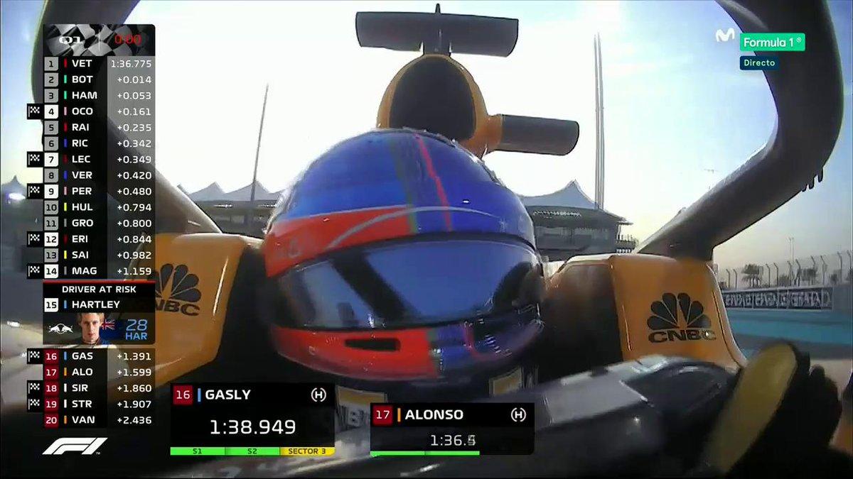 Vuelta mágica de Alonso. Eliminados: Hartley, Gasly, Vandoorne, Sirotkin y Stroll. #ABUmovistarF1