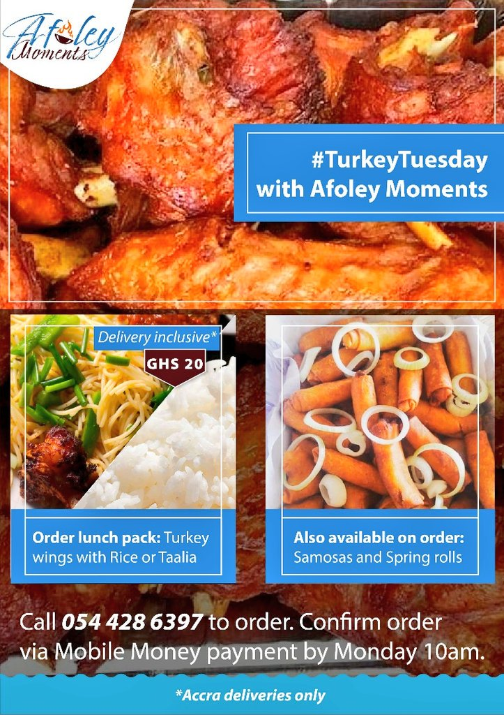 @AfoleyMoments is live!!!! Taking orders from now till Monday    Kindly dm or call +233 54 428 6397 to order your lunch on tuesdays  #afoleymoments #foodie #TurkeyTuesday<br>http://pic.twitter.com/HW9bBXuZHv