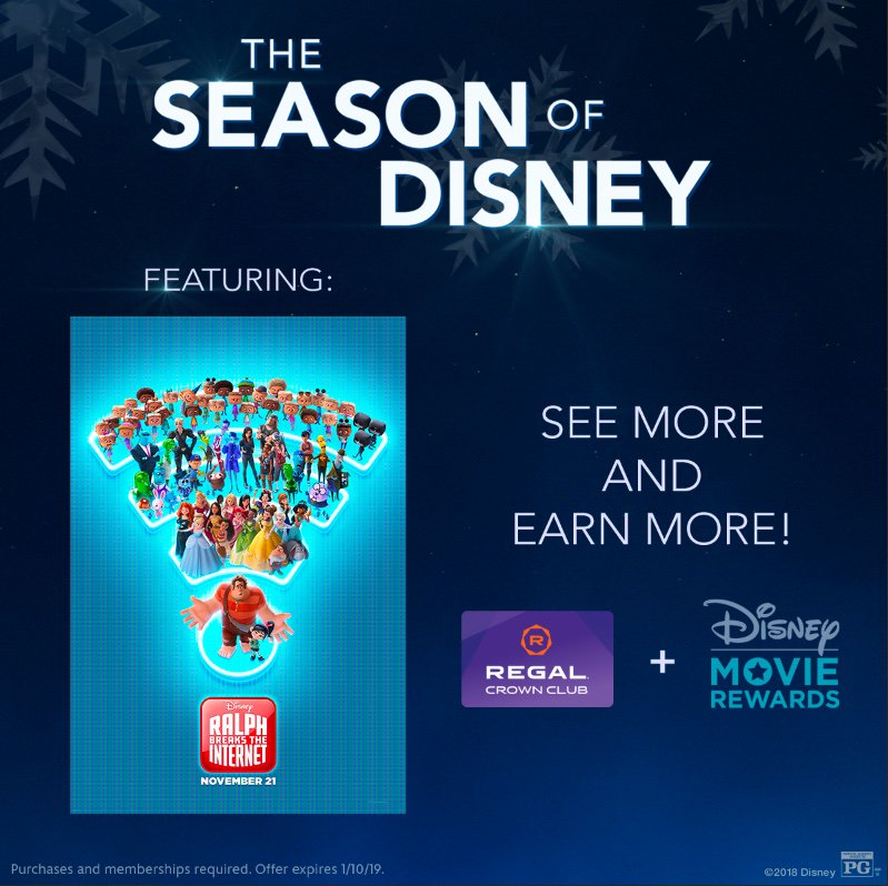 Rewards are waiting for you for seeing #RalphBreaksTheInternet at Regal Cinemas. Get the download: di.sn/6011EDPpX