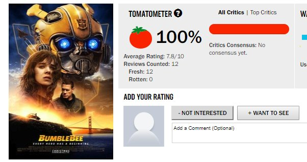 Wow I know it is early but #BumblebeeMovie is at 100% on @RottenTomatoes, definitely will be going on opening day; just like I did for the past 4 TF films ¯\_(ツ)_/¯ Photo