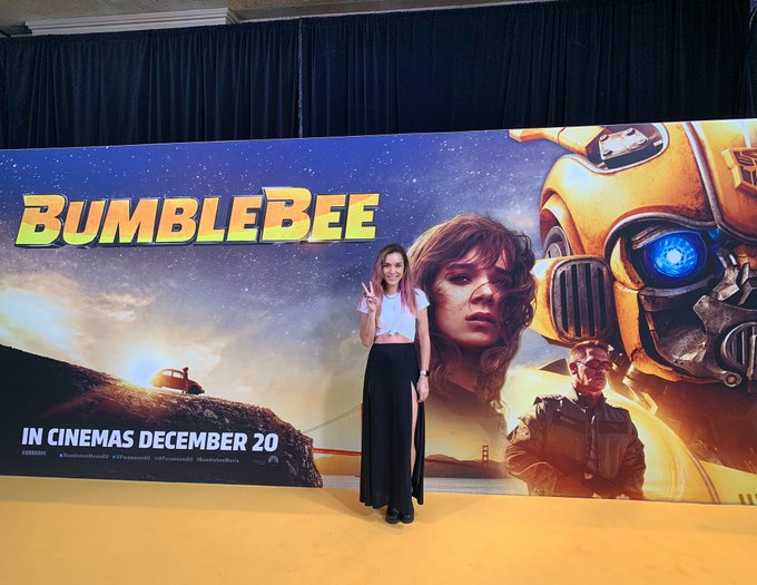 Had a really good afternoon @ the #BumblebeeMovie preview screening! Most 'real' movie in the franchise, super 80s in a good way & probably my fav so far. Bumblebee has always been my favourite Transformer since the og cartoon I watched as a kid 🐝 #Autobotsrollout @ParamountAU Photo