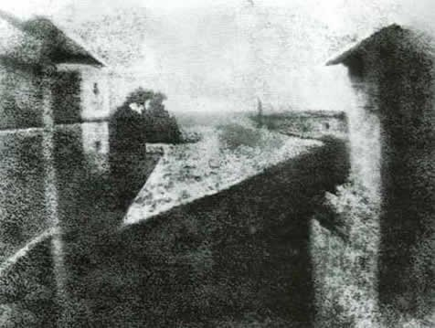 This is the oldest surviving camera photograph. It was taken in 1826 and took 8 hours of exposure http://bit.ly/2lBM3Hw