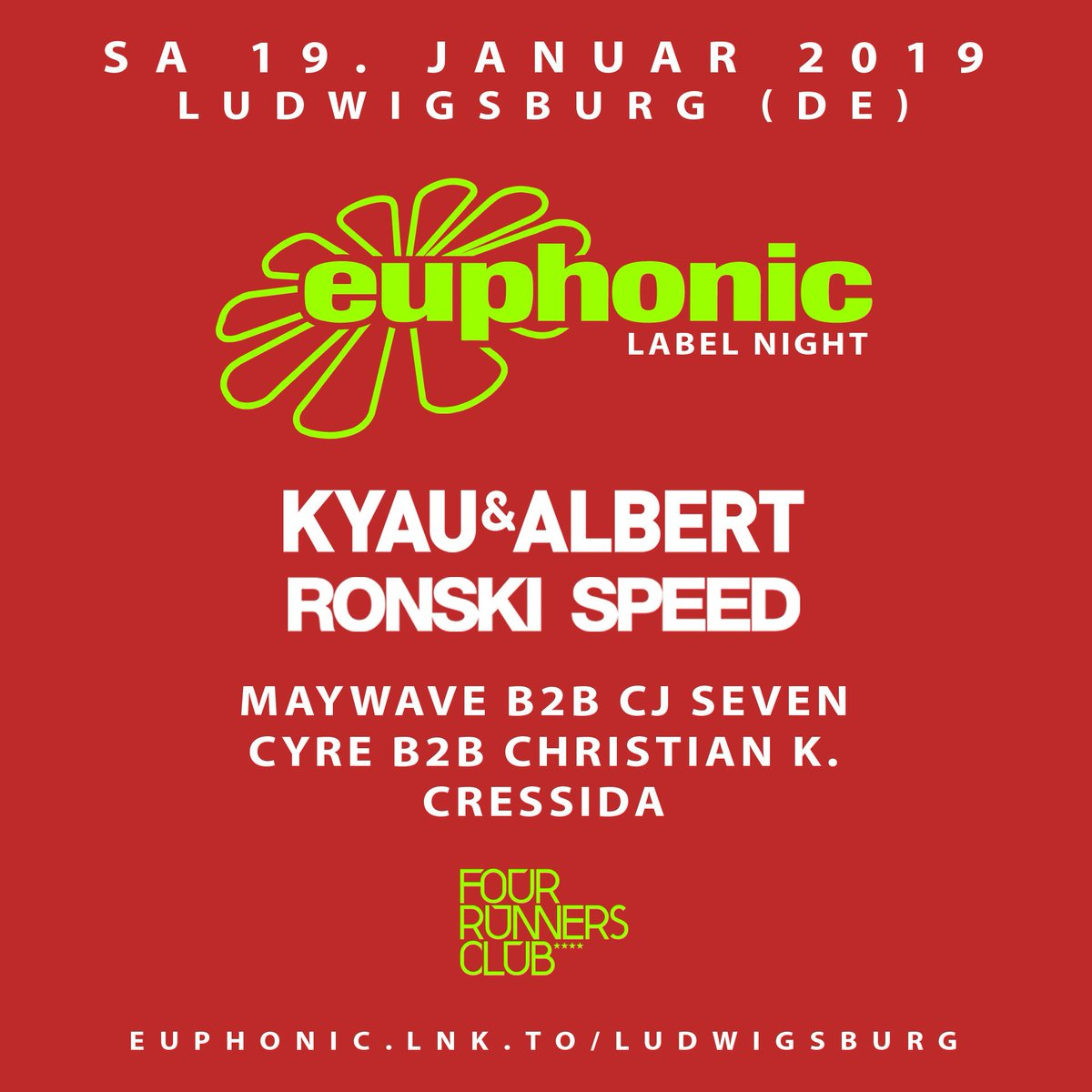 On 19 JAN our friends from @EuphonicRec are finally back in the South. 🙌 In that night @KyauAndAlbert, @RonskiSpeed, @MaywaveMusic b2b @CJSevenMusic, @CressidaMusic and our residents @CyreDJ b2b @ChristianK_DJ will shake the Four Runners Club! 🚀  Infos | https://bit.ly/2G9pDga