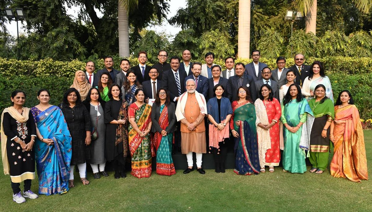 A group of 30 professors from Gujarat visit PM Modi after attending training programme in U.K.