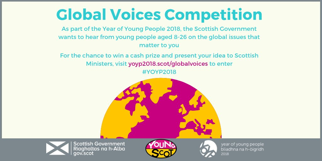 If you have an idea that could make a difference in the world, make your voice heard by submitting here 🌎💡 > yoyp2018.scot/globalvoices/ #YOYP2018