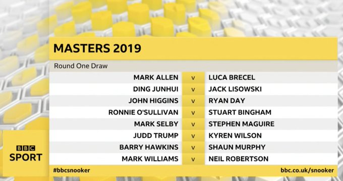 Take a look at 🤤 The draw has been made for the 2019 @Dafabet Masters! 🗓️ Jan 13th - 20th 📍 Alexandra Palace, London 🎟️ Book now at Photo