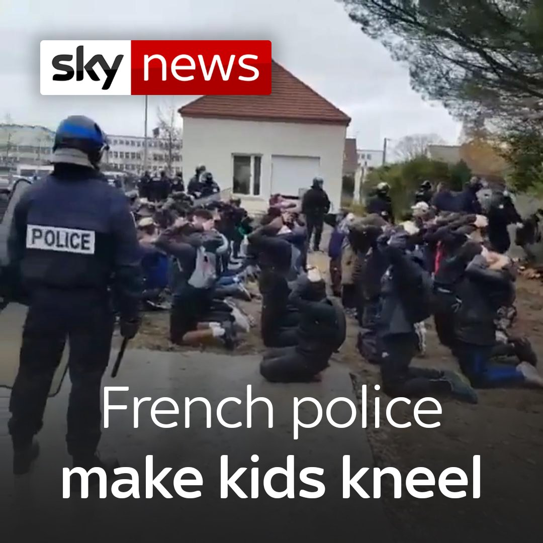 Footage, which has sparked condemnation by politicians, shows the pupils on the ground as riot police yell orders at them amid a Paris lockdown  For more on this story, head here: http://po.st/Vv8V91