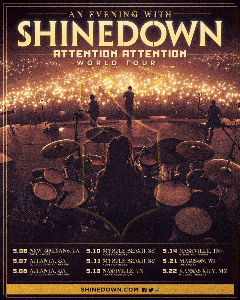 Shinedown On Twitter Attention New Orleans Atlanta Myrtle Beach Nashville Madison Kansas City An Evening With Tickets And Vip Packages
