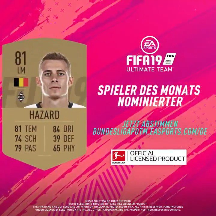 6⃣ Nominierte - nur 1⃣ kann gewinnen 🗳️ #POTM #FUT #FIFA19 @borussia  Stimme ab für @HazardThorgan8 und mache ihn zum #BundesligaPOTM 👉 http://bundesligapotm.easports.com/de