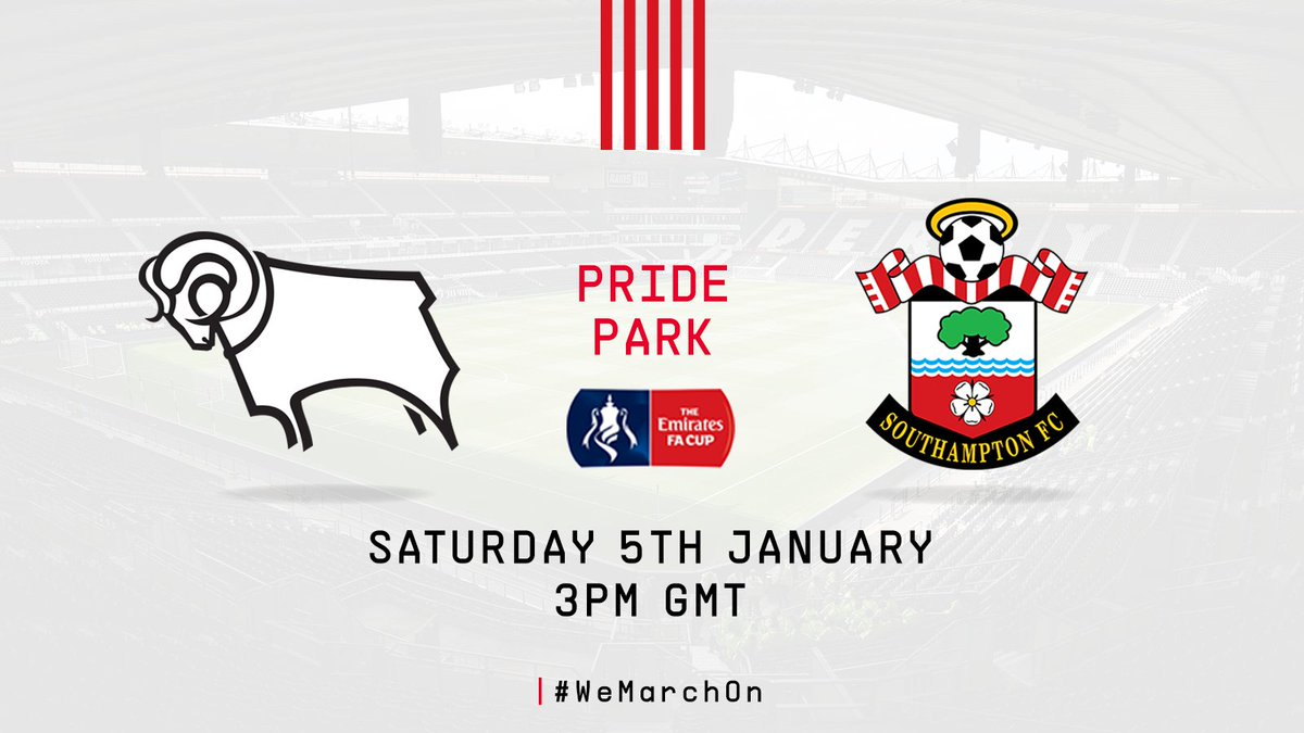 ⚽️ #DCFC 🆚 #SaintsFC  🏆 #EmiratesFACup  📅 Saturday 5th January 🕒 3pm GMT  The date for our third-round clash is set!