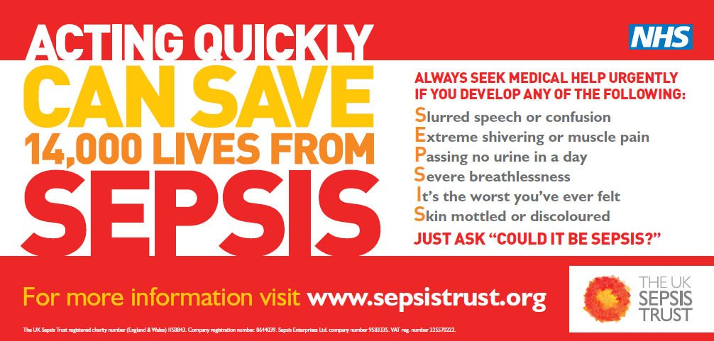 Do you know the signs of #Sepsis?   Knowing them could help to save a life:   S - Slurred speech E - Extreme shivering/muscle pain P - Passing no urine (in a day) S - Severe breathless I - I feel like I might die S - Skin mottled or discoloured  Please RT &amp; spread the word!<br>http://pic.twitter.com/cUScrRTTKO
