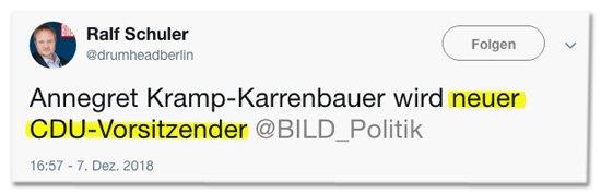 Wenn man zum Abschluss der @BILD-Kampagne den Sieger-Tweet für Friedrich Merz schon vorbereitet hat, und dann doch die Frau gewinnt. #CDUbpt18