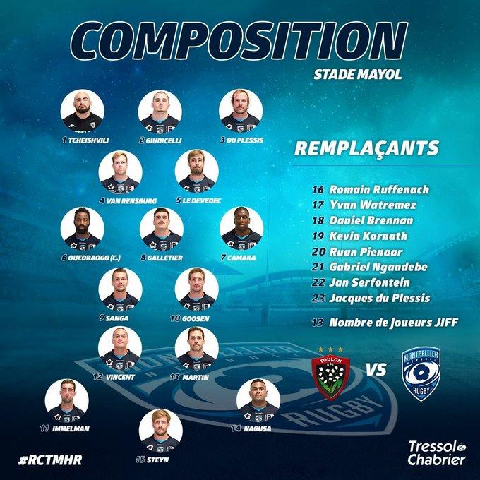 #RCTMHR | Compo Voici l'équipe qui affrontera le @RCTofficiel demain à 16H15 au stade Mayol pour la troisième journée de @ChampionsCup_FR ! Photo