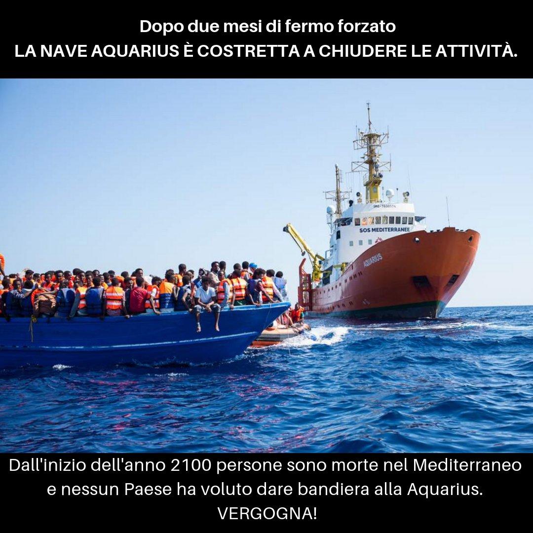Dopo due mesi di fermo forzato nel porto di Marsiglia, la nave #Aquarius è costretta a chiudere le attività. Dall'inizio dell'anno, 2100 persone sono morte nel Mediterraneo e nessun Paese ha voluto dare bandiera alla Aquarius per interrompere quest'ondata di disumanità. Vergogna!
