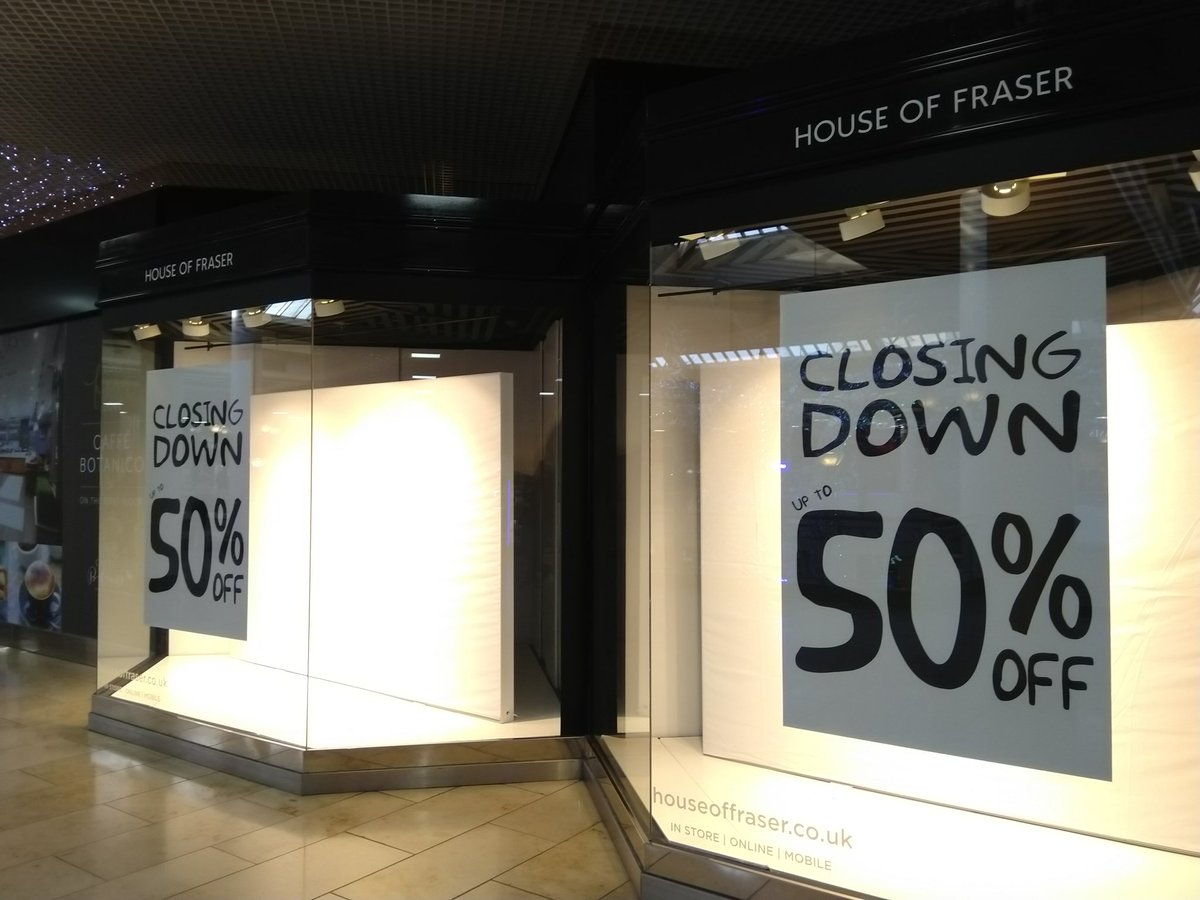 Struck by what a big loss @houseoffraser closing will be - store has been there since @intuMetrocentre opened #1986 big floor plates on both ground &amp; upper levels; quite a few void units around especially green mall #retail #retailproblems @R3intelligence<br>http://pic.twitter.com/kps48AyZ6v