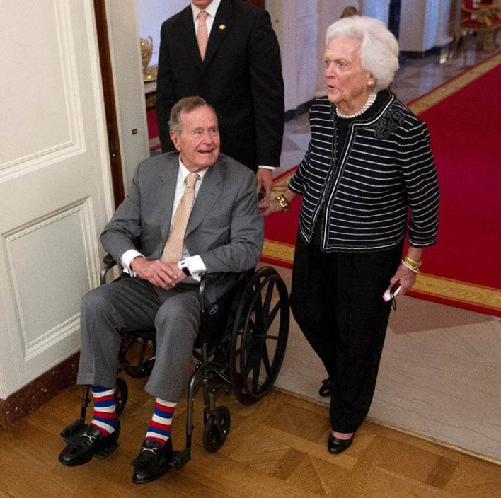 """I like a colorful sock. Im a sock man."" - George H. W. Bush *Photo courtesy of President Obama #remembering41"