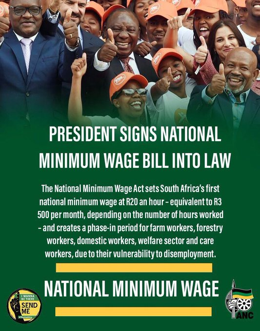 PRESIDENT PROCLAIMS NATIONAL MINIMUM WAGE EFFECTIVE DATE The national minimum wage represents a marked increase in income for more than 6 million workers – or 47% of South Africa's labour force – who at present earn less than R20 an hour. #NationalMinimumWage Photo