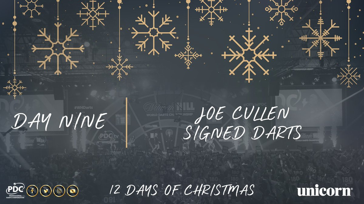 DAY NINE!  RT to be in with a chance of winning a signed set of Joe Cullen darts, courtesy of Unicorn. https://t.co/fAnAzVeO4c