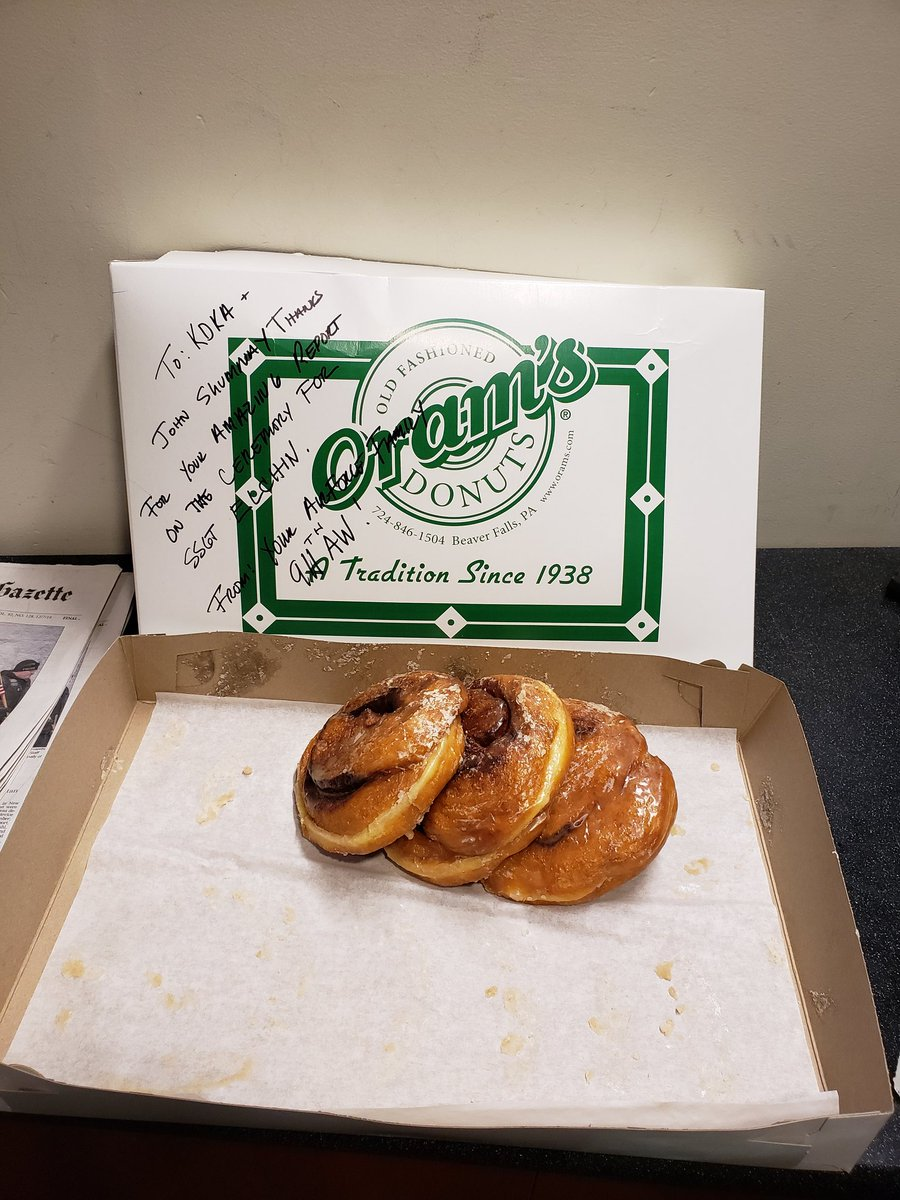 Today we were blessed by someone who brought in, all the way from BEAVER FALLS, Big-as-your-head cinnamon rolls!  #bestintheworldEVER <br>http://pic.twitter.com/rBpa4hULtC