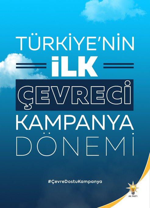 AK Parti olarak günümüz teknolojisine yakışır, dijital iletişim araçlarını kullanarak, çevreye ve insana saygılı, #SıfırAtık ve tasarruf bilinciyle Yeni Türkiye'nin ilk #ÇevreDostuKampanya dönemi Liderimiz, Cumhurbaşkanımız Sn. @RT_Erdogan'ın önderliğinde başlıyor. Hayırlı olsun. Photo