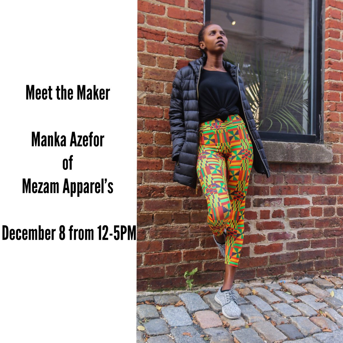 #ShopZawadi Meet Manka Azefor & purchase unbelievably cool leggings, bags, & athleisure wear with African prints this weekend!