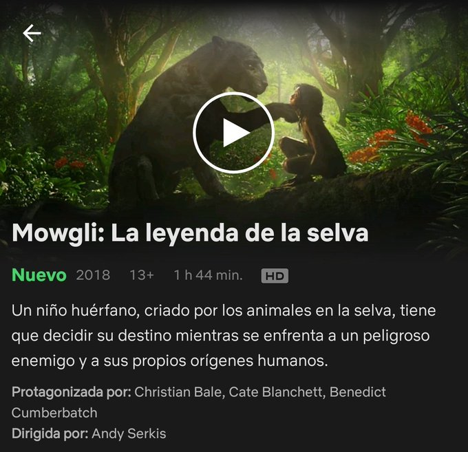 7/12/18 Mowgli: La leyenda de la selva (2018) Photo