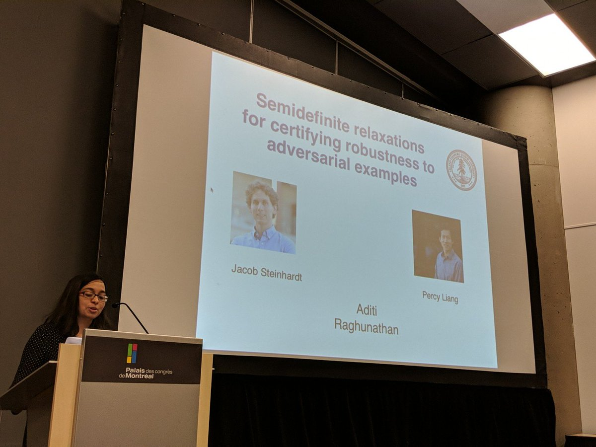 Aditi from Stanford is now speaking about certifiable robustness in ML at #secml18 (room 513DEF)