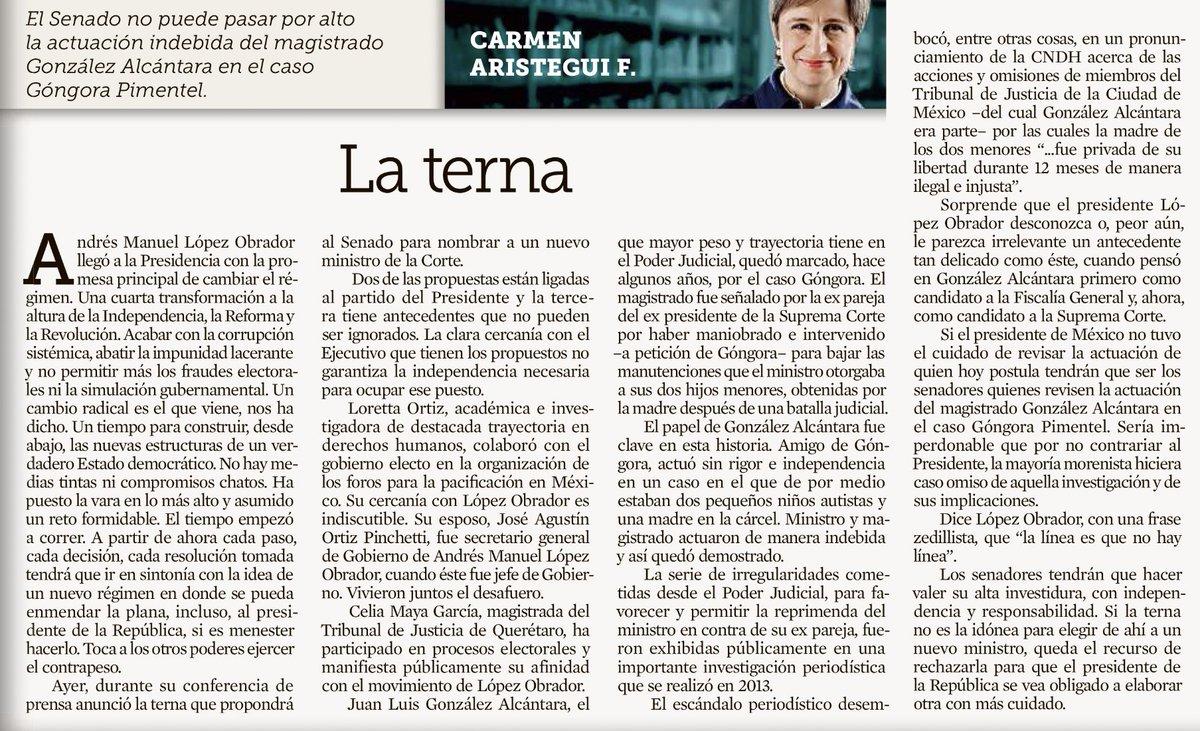 Ojalá @lopezobrador_  lea hoy a @AristeguiOnline 👇🏼  *De pasada también que la lean los Senadores.   [vía @Reforma]