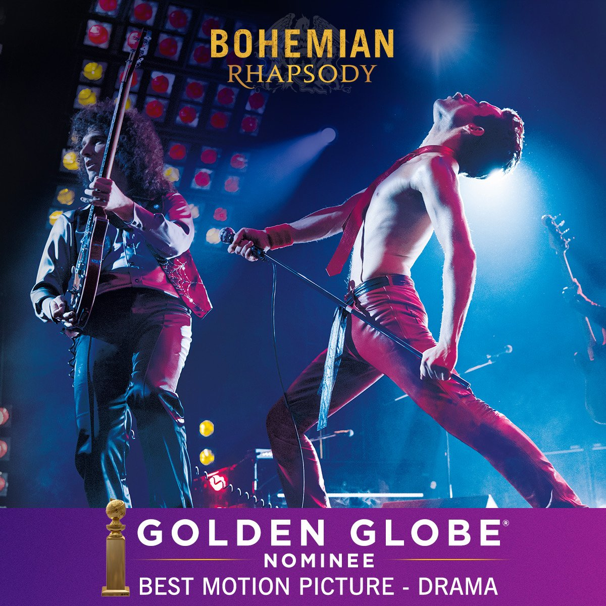 #BohemianRhapsody has been nominated for Best Motion Picture - Drama for the #GoldenGlobes. We can't thank all those involved in telling this story enough! <br>http://pic.twitter.com/gZSnTl3BeH