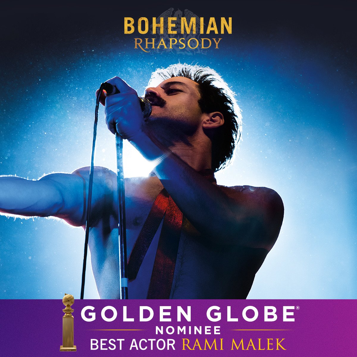 And congratulations to @ItsRamiMalek for his truly deserved #GoldenGlobes nomination for Best Actor in a Motion Picture - Drama!  #BohemianRhapsody<br>http://pic.twitter.com/5BNkCrg3Bq