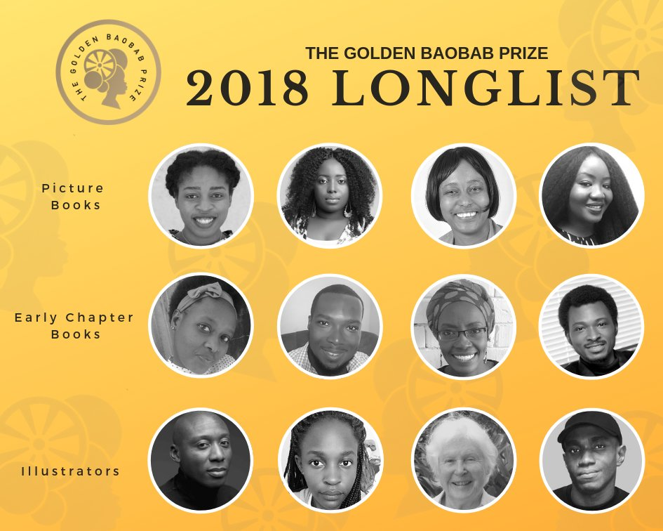 We are so happy to announce our 2018 #GoldenBaobabPrize Longlist! This year, we unveil 12 longlisted children's authors and illustrators from six countries across the continent. For more on the 2018 Longlist visit:  https:// bit.ly/2UoS3pt       #Afkidlit #kidlit #weneeddiversebooks<br>http://pic.twitter.com/FgC5J6lIAb