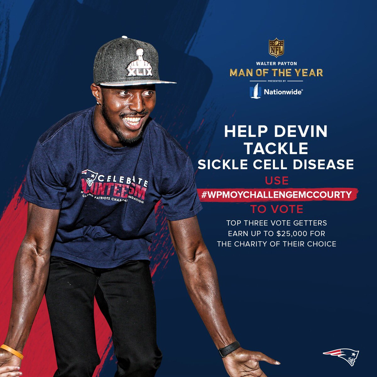 My man D-Mac is up for the 2018 Walter Payton Man of the Year. He is the perfect example of how to use influence to positively influence the community. Repost and share the hashtag #WPMOYCHALLENGEMCCOURTY to help him raise money to fight sickle cell disease. <br>http://pic.twitter.com/qyU3mrKhdH