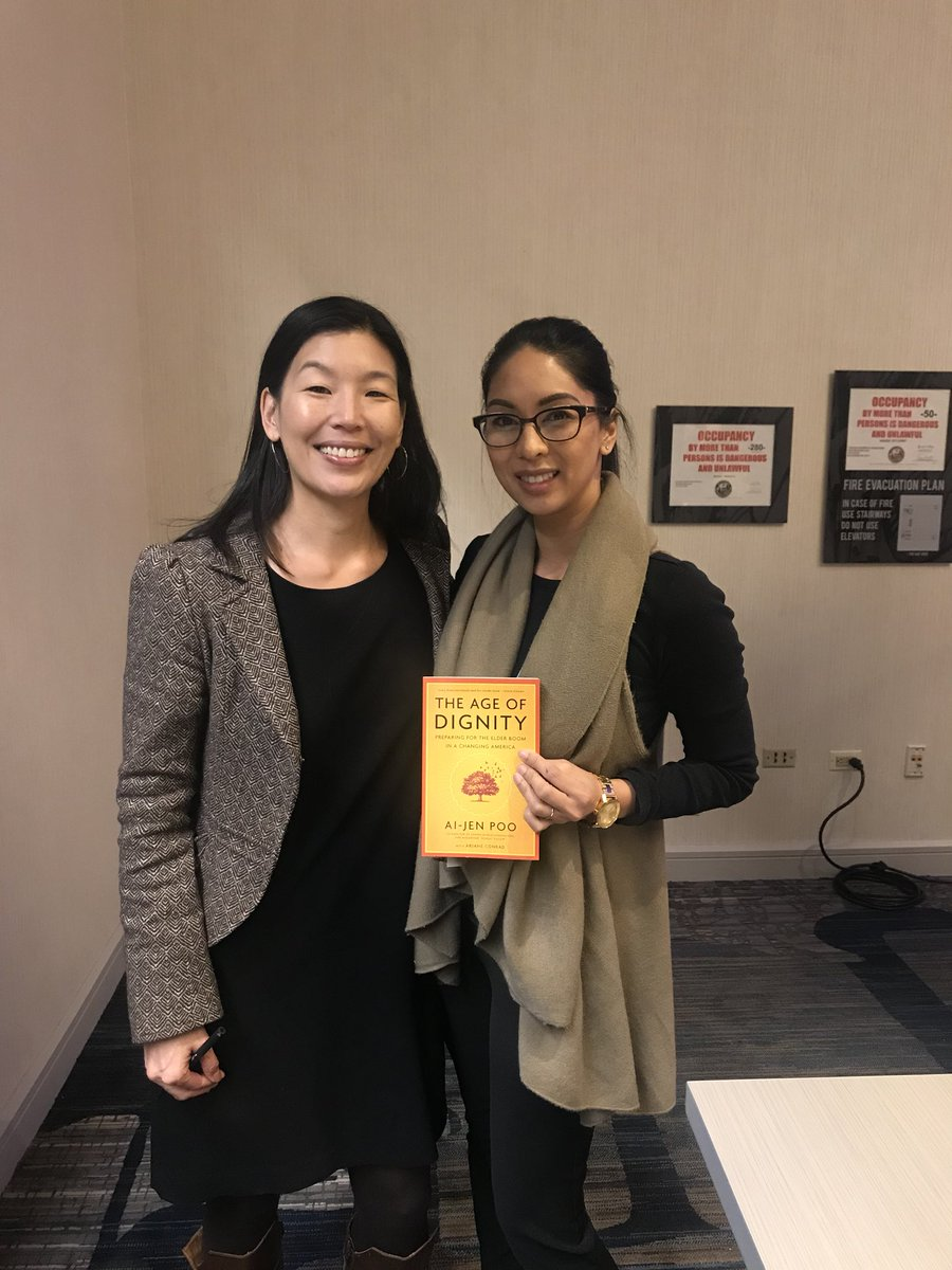 Got the pleasure of meeting Keynote Speaker at Putting Care at the Center Conference 2018.  @aijenpoo made a very moving speech about the great need to change how caregivers are valued, undervalued rather.   Can't wait to read her book. #TheAgeofDignity #CenteringCare18 <br>http://pic.twitter.com/3FQ3uGdJaa