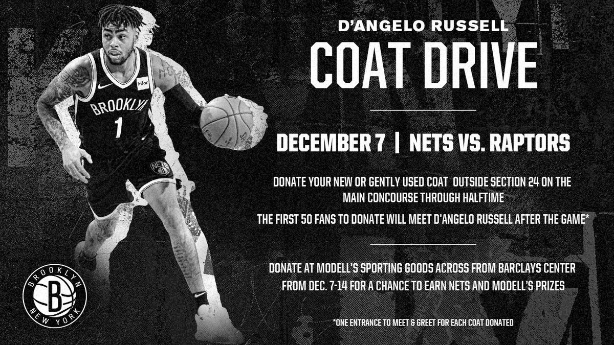ICYMI: @Dloading is sponsoring a Coat Drive during tonight's game, and the first 50 fans to donate will get to meet D'Angelo after the game! Make sure you come to tonight's game with your new or gently used coat 🧥