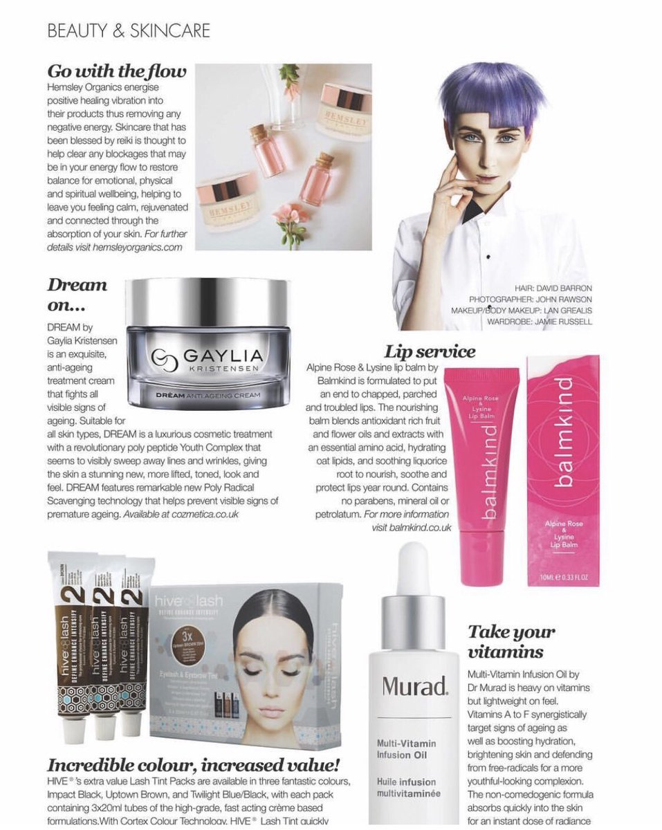 Great write up on #GayliaKristensen DREAM CREAM in The Salon Magazine UK - The Best Skincare - December...Dream on #Worcestershirehour #MalvernhillsHour