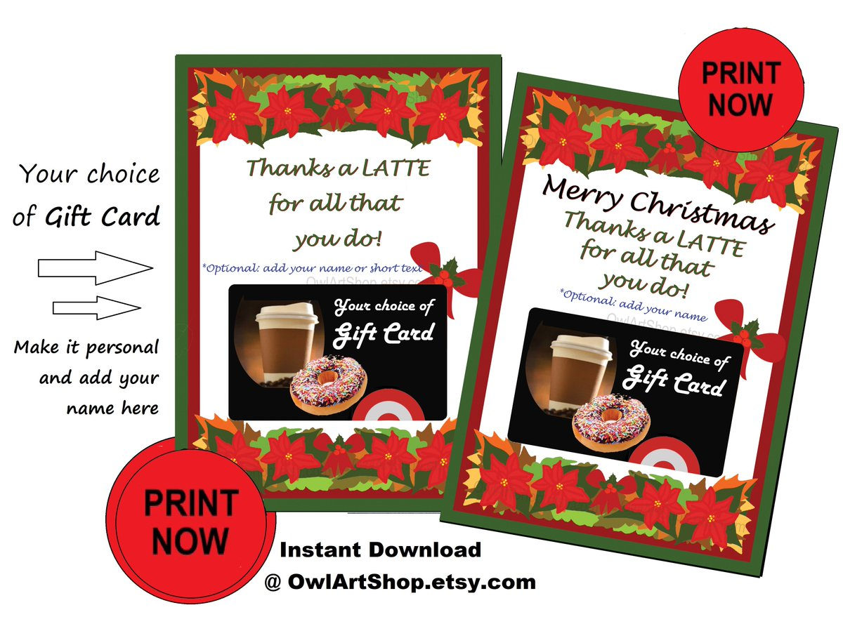 photo relating to Thanks a Latte Christmas Printable identify Owl ArtShops tweet - \
