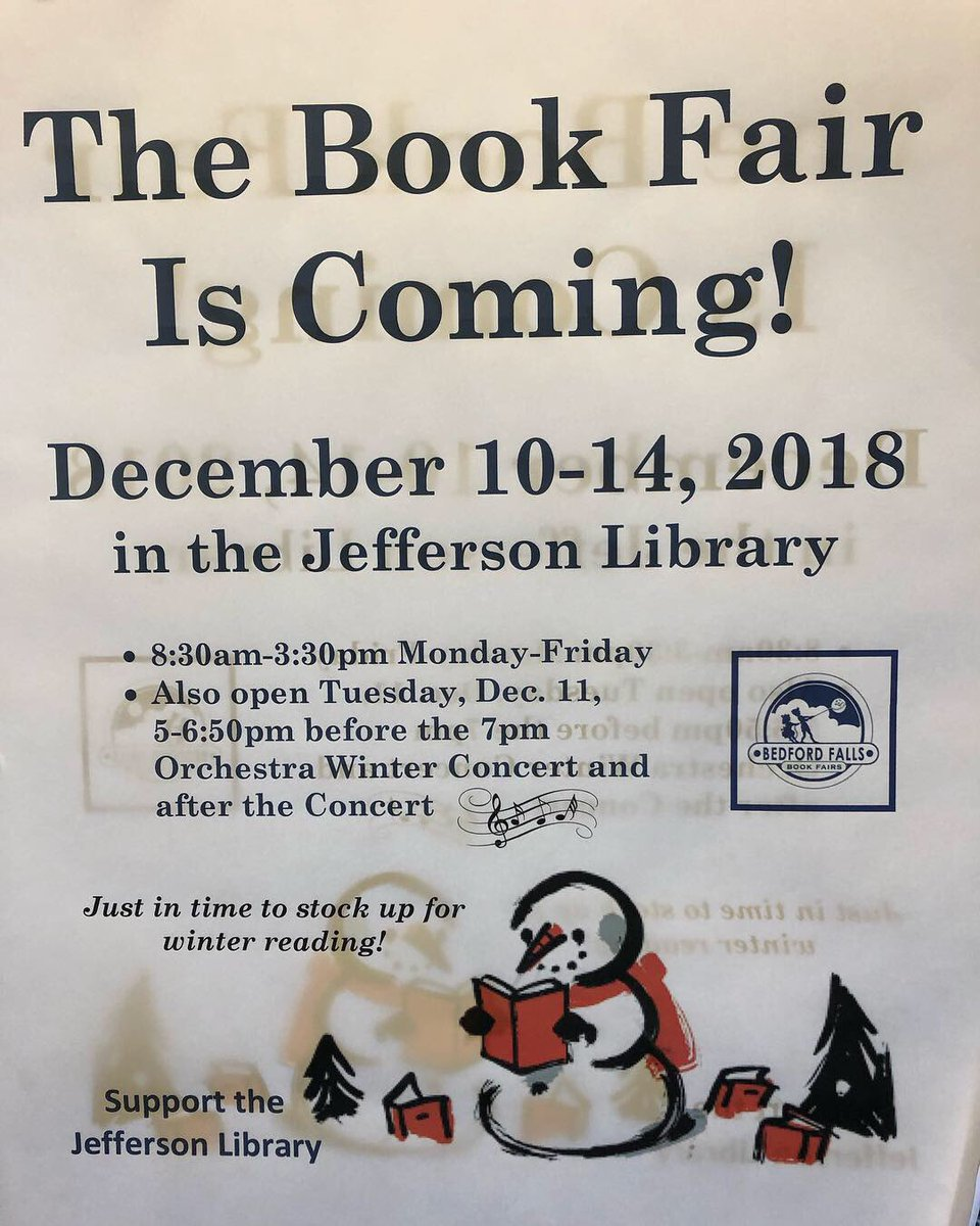 We're all set up with some great books! Start collecting your allowance &amp; the coins under the sofa cushions now 😉!  Our Book Fair's open all next week: Dec 10-14 <a target='_blank' href='http://twitter.com/JeffersonIBMYP'>@JeffersonIBMYP</a> <a target='_blank' href='http://twitter.com/BedfordFallsBks'>@BedfordFallsBks</a> <a target='_blank' href='https://t.co/GD6C58zkSE'>https://t.co/GD6C58zkSE</a>