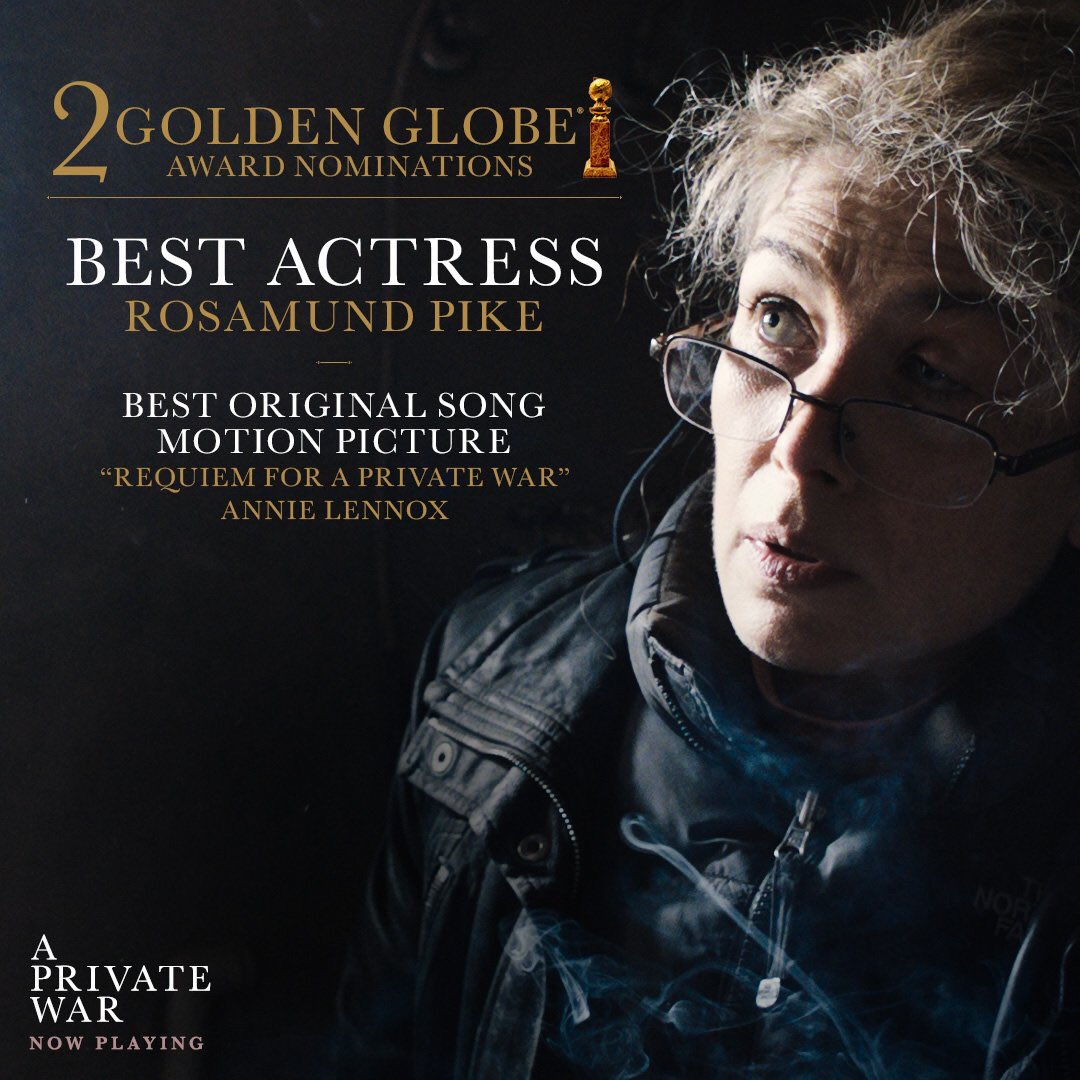 Two #GoldenGlobe nominations today for @APrivateWar!! Congratulations to Best Actress nominee Rosamund Pike, best original song nominee, @AnnieLennox, but especially to the film's producer, Marissa @kamalafilms #BadassWomen<br>http://pic.twitter.com/WpBz0wFPLQ
