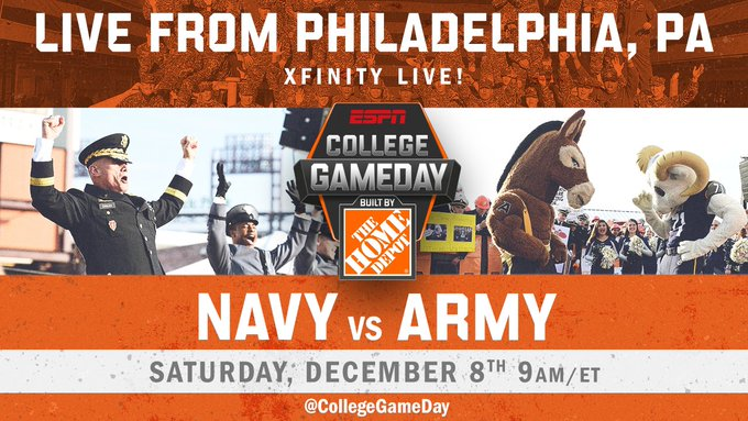 This is one of the greatest rivalries in all of sports. Tomorrow we're live from Philly at 9am ahead of the @ArmyNavyGame! Photo