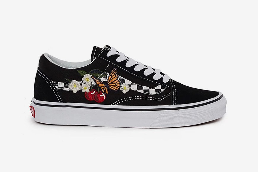 2f6410262a Vans drops the Old Skool with a beautiful checkered sidestripe   floral  embroidery  https