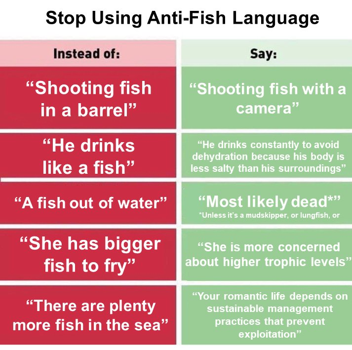 Words matter. Heres how to remove anti-fishism from your daily conversations.