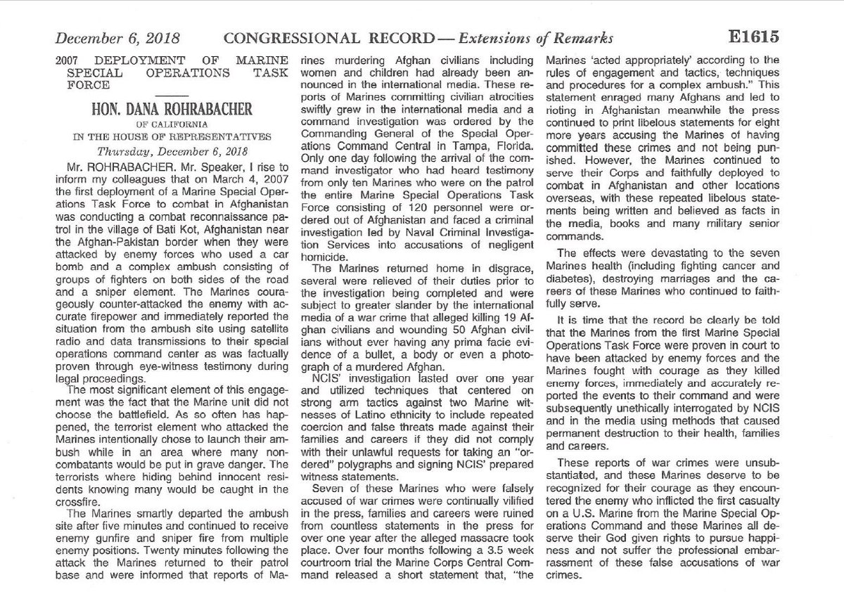 Years ago, I reexamined an infamous war-crimes case. Task Force Violent: The Unforgiven focused on the plight of several Marines wrongly accused of committing atrocities in Afghanistan. This week, Rep. Dana Rohrabacher entered the following into the Congressional Record: