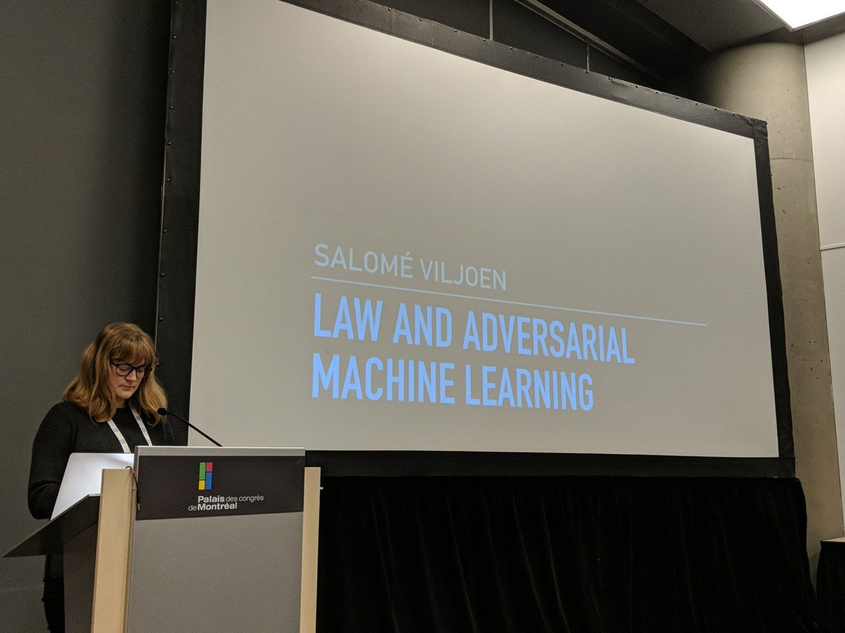 Salome from Berkman Klein Center next up at #secml18 about law and adversarial ML