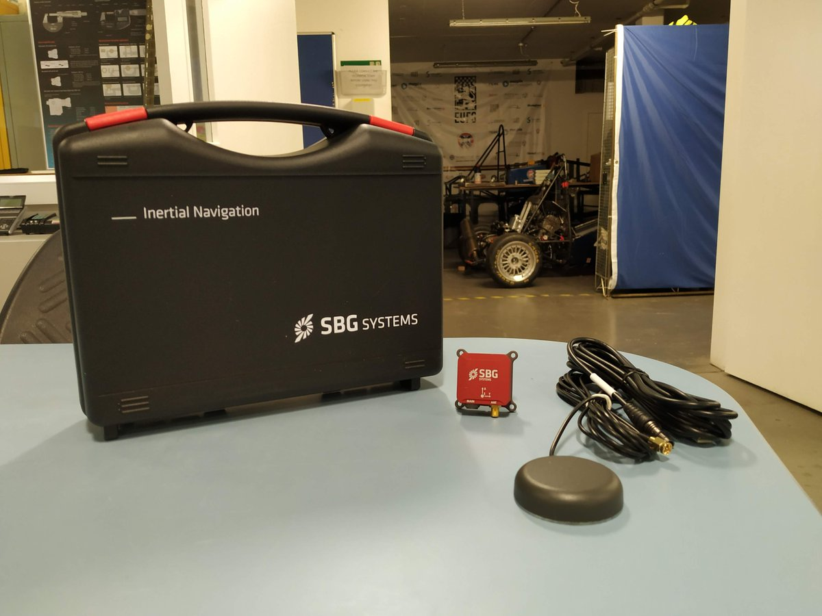 We recently received this little red fella, kindly sponsored to us by @SBG_Systems . An INS of this high quality would be crucial to the development of our driverless car.  #driverless #autonomous #FormulaStudent