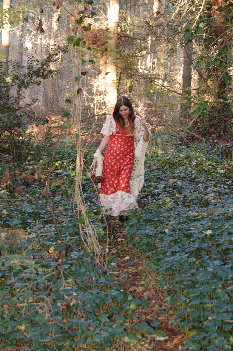 Jane Air wearing a vintage 70s maxi dress. #JaneAir #Janeairvintage #vintage70smaxidress #vintage70sdress #folk #woods #Lincolnshire