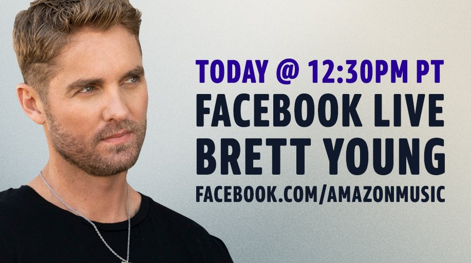 We're going live with @BrettYoungMusic at 12:30pm PT TODAY! Tune in: amzn.to/2AYXuTg