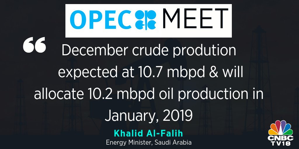 #OPECMeet  | Saudi Energy Minister Khalid Al-Falih says Saudi Arabia will more than bear its share of oil cuts; extended OPEC+ talks partly because nations felt they had 'special conditions' #OPEC