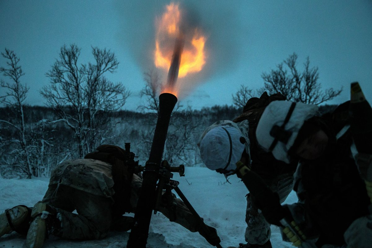 Fire & Ice Marines with Marine Rotational Force-Europe 19.1 fire a M252 81 mm mortar system in Setermoen, Norway, Nov 27, 2018.
